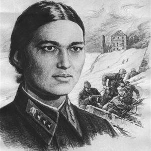 Плакат, посвящённый подвигу политрука Нозадзе.